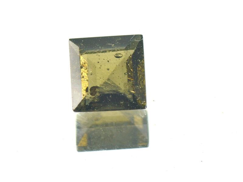 0.84cts SQUARE standart cut 6x6mm moldavite faceted cutted gem BRUS1255