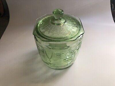Green Depression glass Biscuit jar Green Glass Jar