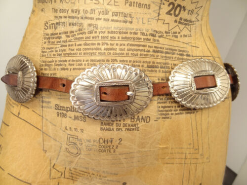 Vtg Tony Lama Skinny Brown Leather Metal Concho Belt-Sz-30