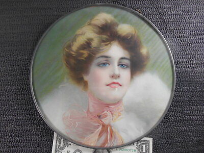 """Antique PRETTY VICTORIAN LADY Flue Cover 9.5"""" Beautiful Blue Eyes Pink Scarf"""