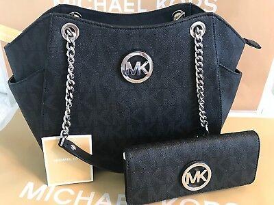 2pc MICHAEL KORS JET SET Large TRAVEL CHAIN SHOULDER BAG + WALLET Black $556 NWT