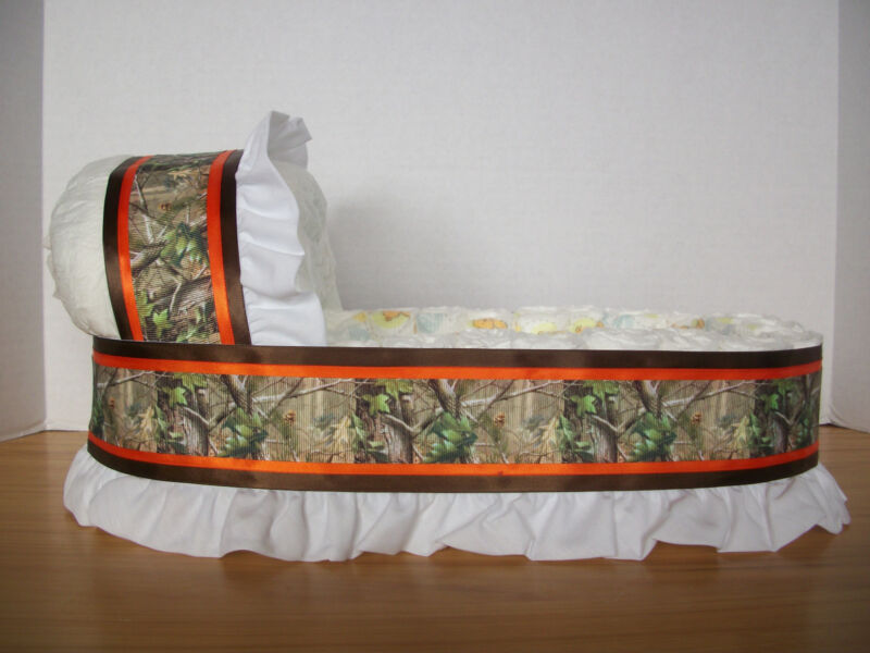 HUNTER GREEN CAMO CAMOUFLAGE BOY DIAPER BASSINET BABY SHOWER TABLE DECORATION