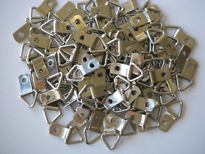 100 Mini D Ring Triangle Strap Hanger, Picture Framing, Crafts