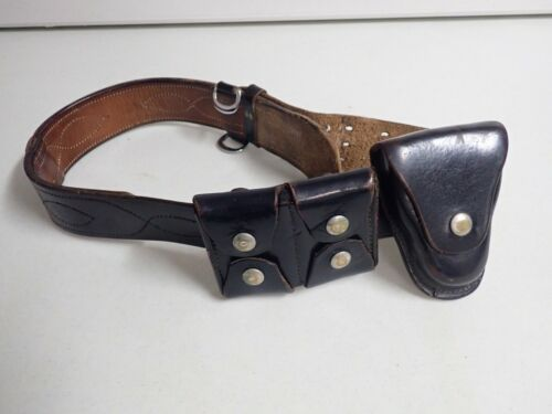 Vintage Black Leather Police Belt, Ammo Pouch Hand Cuffs?