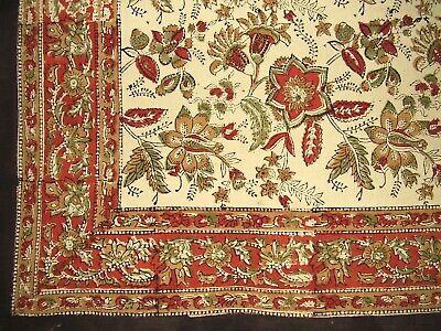 Jaipur Block Print Cotton Tablecloth 60 x 60 Autumn Colors