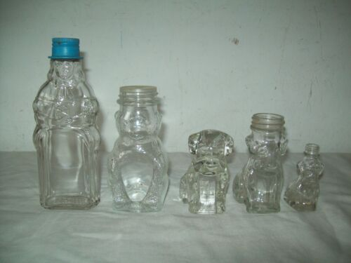 """Lot of 4 vintage figural bottles, + Dog Candy container 2"""" - 6"""" tall , Beah Peep"""