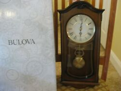 Bulova C3542 Cranbrook Chiming Clock, Walnut Finish In Original Open Box