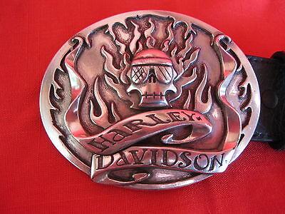 HARLEY DAVIDSON BELT BUCKLE  SKULL AND FLAMES 36 INCH DARK BROWN LEATHER 2005