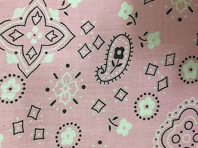 Pink Bandanna Print Poly Cotton Fabric - Sold By The Yard - -