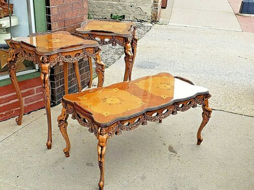 Baroque Wood carved French Putti Angel Antique Accent tables & Cocktail table
