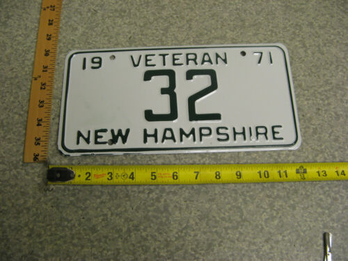 1971 71 NEW HAMPSHIRE NH VETERAN LICENSE PLATE # 32