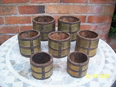 Set Of 7 Wooden Pots With Riveted Metal & Brass Inlaid