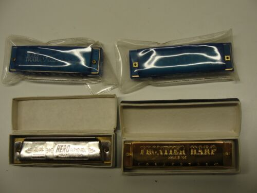 LOT 4 ASSORTED HARMONICAS FRONTIER HARP BLUES MISSISSIPPI