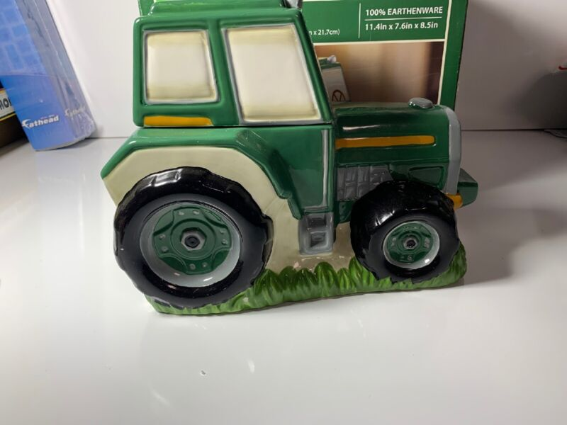 Holiday Time Green Tractor Cookie Jar Earthenware in Box