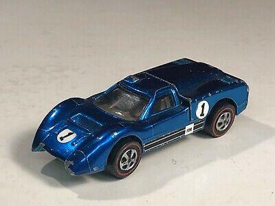 Original 1968 Hot Wheels Redline Ford J Car Blue w/ Brown Int. USA base early 68