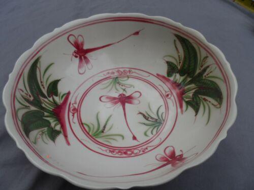 "Colorful 8 1/2"" Red Green Bat Trang Dragonfly Bowl Vietnam Vintage Scalloped HTF"
