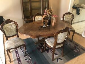 5pc wooden dining table and chairs
