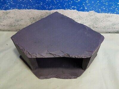 Fennstones corner slate cave stone rock shelter hide pleco fish aquarium lizard  ()