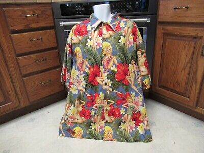 1940s Men's Shirts, Sweaters, Vests 1940's pin up girls Sexy Hawaiian shirt Men's 3XL Island shirts Laguna Beach $50.00 AT vintagedancer.com