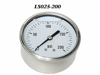 New Hydraulic Liquid Filled Pressure Gauge 0-200 Psi 14 Npt Center Back Mount