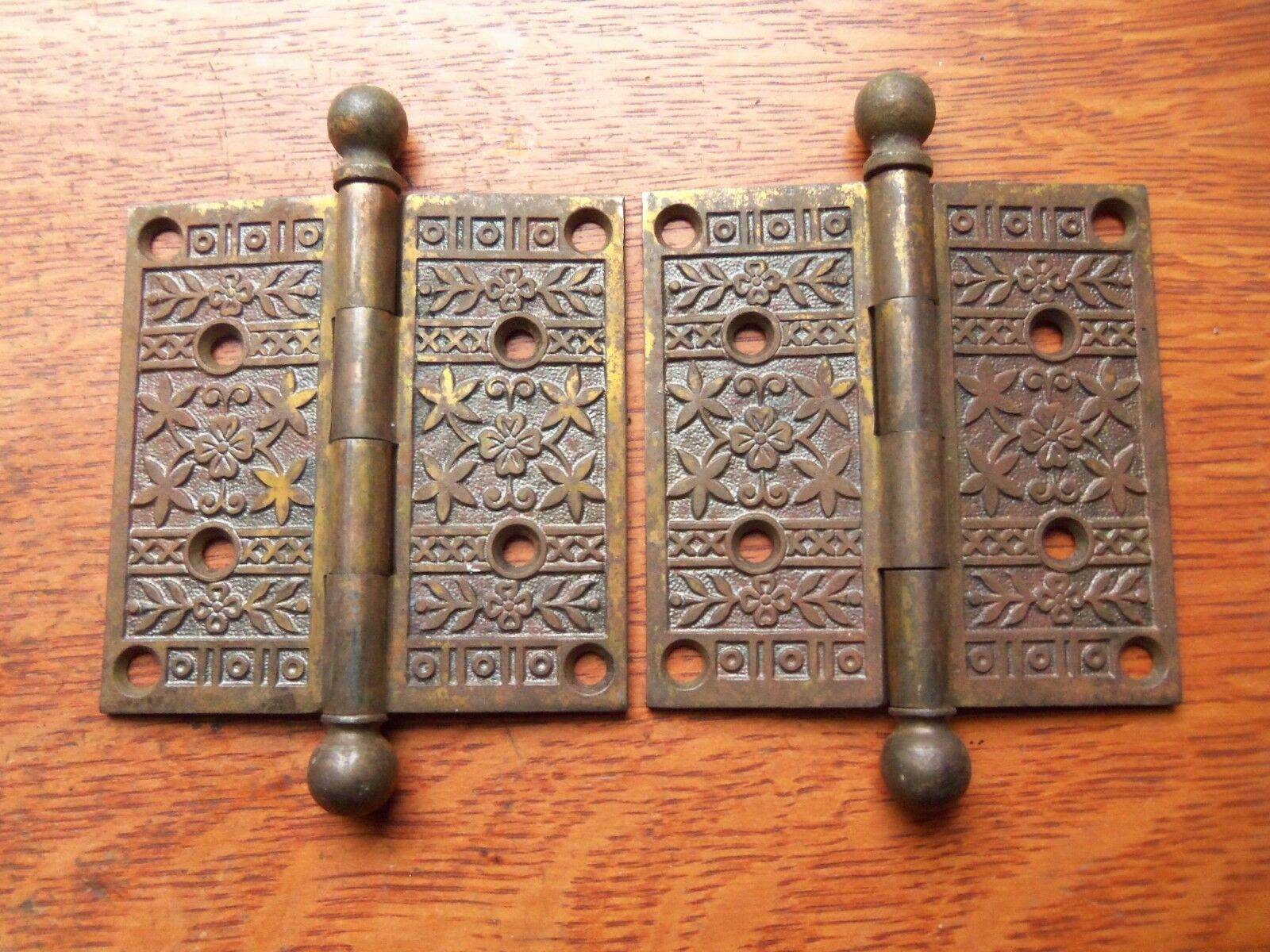"Two Fancy Victorian Floral Antique Brass-Plated Door Hinges 4"" X 4"" c1885"