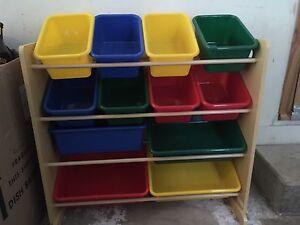 Multi-bin toy organizer