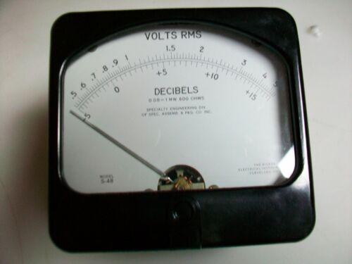 """HICKOK PANEL METER  5 V. RMS / DECIBELS    3 3/4"""" T x 4"""" W.  6625-00-607-3268  M"""