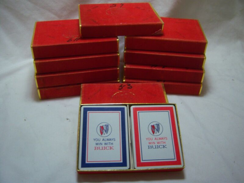 Vintage GM Buick Playing Cards You Always Win With Buick Red Blue 2 Decks 1960