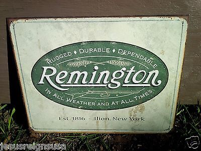 REMINGTON GUNS RIFLES LOGO Tin Metal Sign Wall Garage Classic 1816 New York