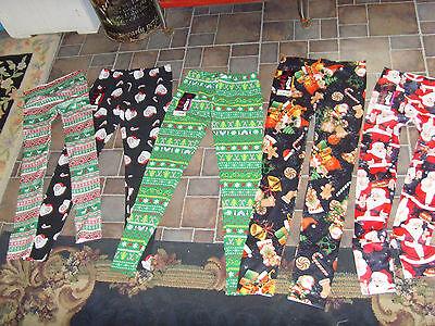 Christmas Elf Santa Reindeer Argyle Ankle Length Womens Leggings NEW xs s - Elf Reindeer