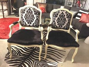 2 Grey black ivory accent or dining chairs