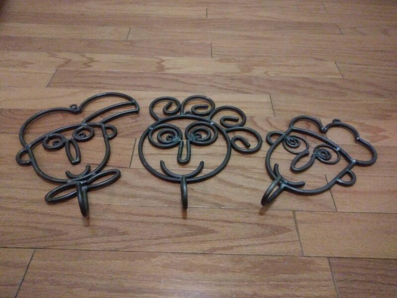 Set of 3 Welded Metal Face Wall Sculpture Wall Decor Hooks Coats Keys