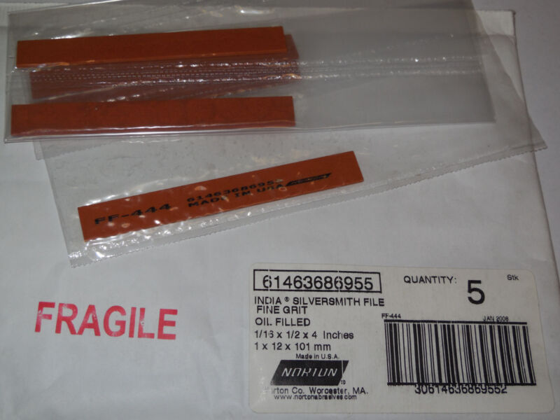 "NORTON 61463686955 India Silversmith File Fine Grit Oil Filled 1/16"" x 1/2"" x 4"""