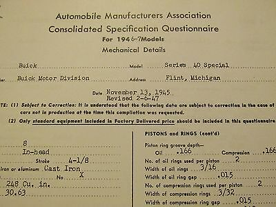 "1946-1947 Buick Special Series 40 ""AMA Consolidation Specification"" Book"