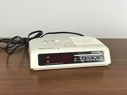Vintage Sony Dream Machine ICF-C25 FM AM Alarm Clock Radio White Tested Working