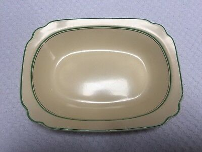 "Homer Laughlin Century Green and Platinum Stripe 9"" Rectangular Vegetable Bowl"