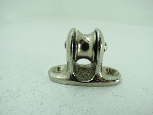 3/4 INCH CHROME OVER BRONZE DECK PULLEY BLOCK BOAT SHIP BRASS TACKLE (C4B228)