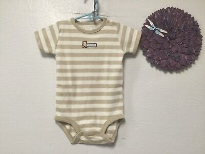 (Baby boy snap crotch shirt size 12 mo too cute stripes shades beige Carters 42)