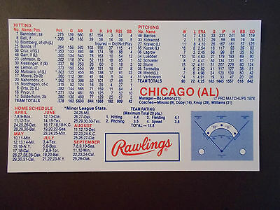 Chicago White Sox 1978 Mlb Schedule   Roster   Rawlings