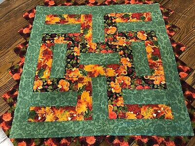 Handmade Quilted Table Rail Runner, Fall colors, Praririe Points    26