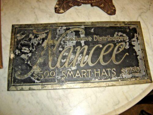Metal Advertising Sign for Nancee Exclusive Distributors Smart Hats  8361