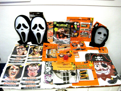 Huge Lot of Halloween Scars Tattoos Makeup Masks Decorations Bags-FAST SHIPPING!
