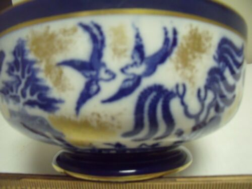 Doulton Blue Willow Footed Bowl With Gold Trim