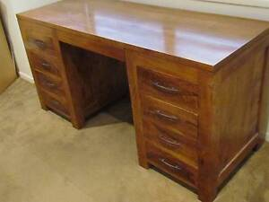 Large Solid Mango Wood Desk w 9 Drawers Kenmore Hills Brisbane North West Preview
