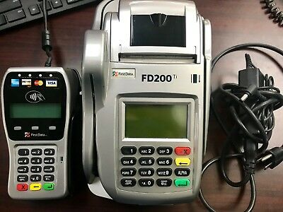 First Data Fd200 Ti Credit Card Terminal Check Reader Wpin Pad Paper Used