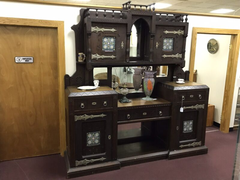 Antique c.1900 Sideboard Butler's Pantry sold wood large & majestic tile mirrors