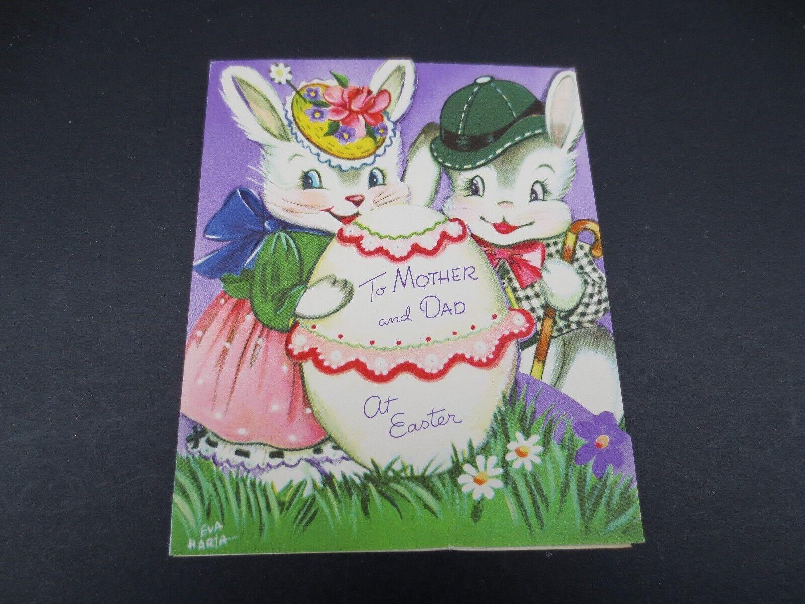 Greeting cards paper ephemera collectables j291 vintage eva harta easter greeting card adorable bunny rabbits big egg kristyandbryce Gallery