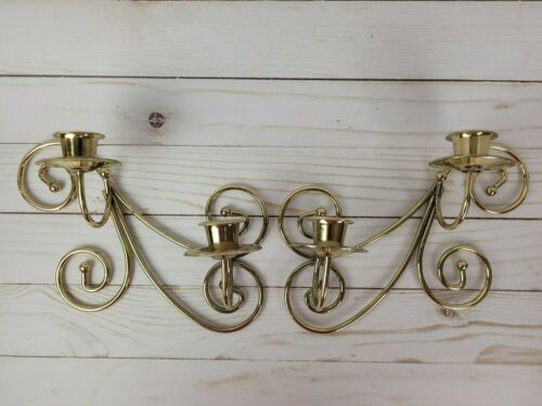 Vintage Lot of 2 Home Interiors Brass Wall Sconces Scroll HOMCO Candleholders