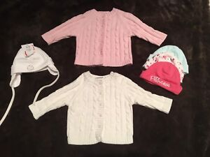 0-6 months girl sweaters and hats