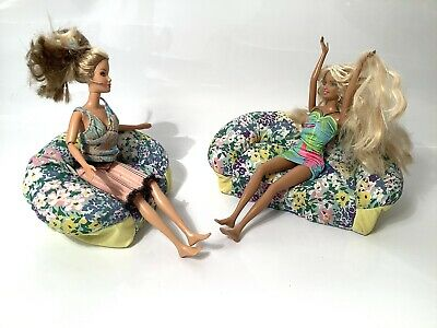 Barbie Dream House Fabric Sofa And Love Chair Vintage